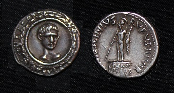 Augustus AR Denarius Facing in Wreath - Mars on pedestal RIC 356 - R