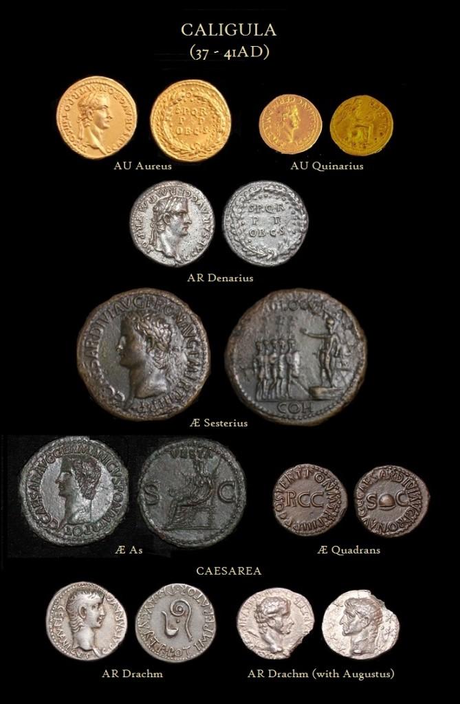 Caligula Aureus Quinarius Denarius Sesterius Dupondius As Quadrans Drachm