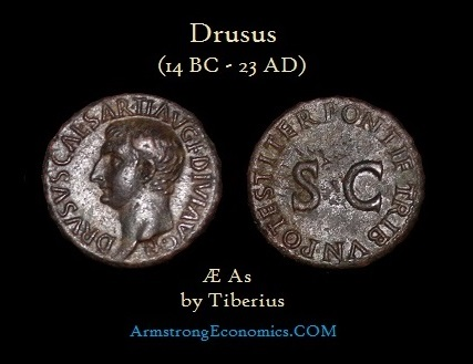 Drusus AE As by Tiberius
