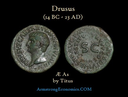 Drusus AE As by Titus