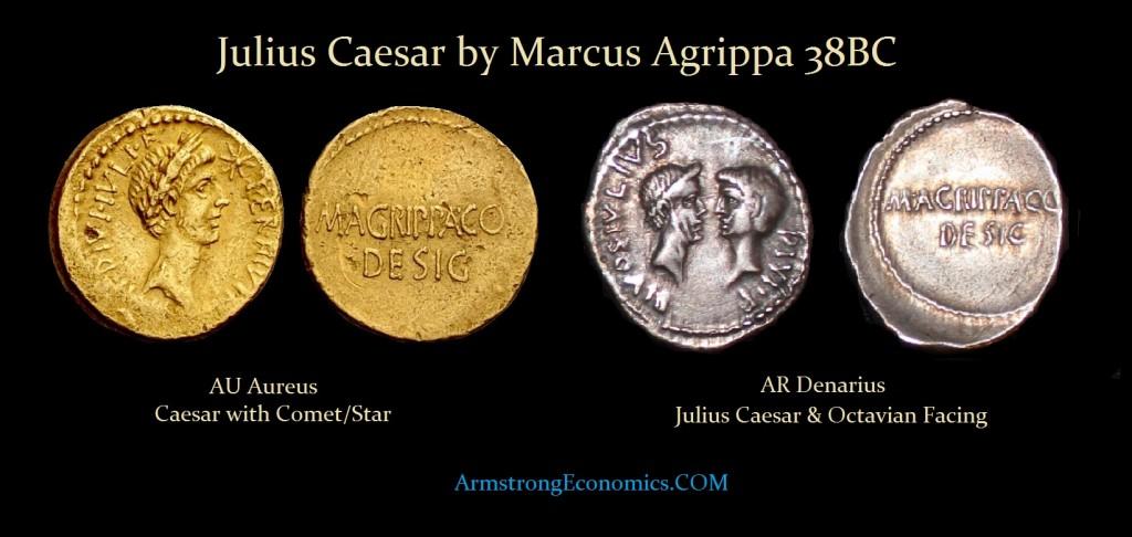 Julius CAESAR by AGRIPPA Aureus Denarius with Octavian facing