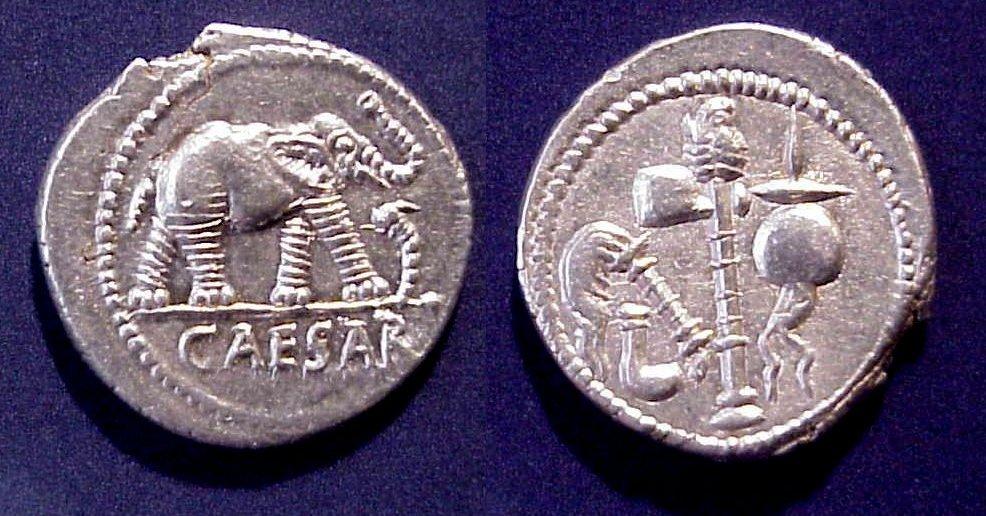 Julius Caesar AR Denarius Elephant Pontificate emblems 49BC