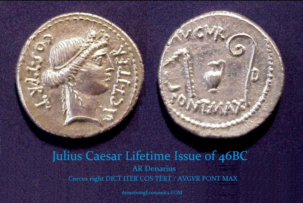 Julius Caesar Denarius  Cerces 46BC CR467-1A