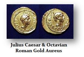 Julius Caesar and Octavian AU Gold Aureus