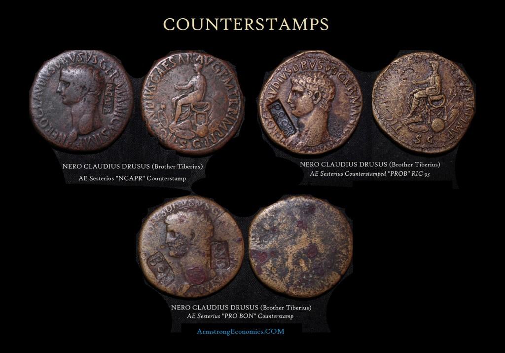 Nero Claudius Drusus Counterstamps Sesterius
