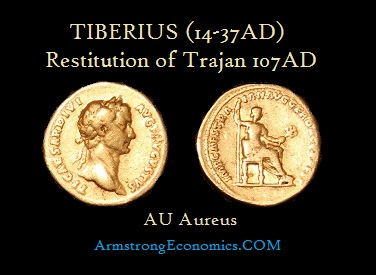 Tiberius Restitution Gold Aureus by Trajan - R