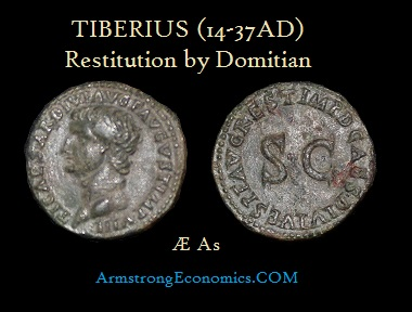 Tiberius Restitution by Domirian AE As - R