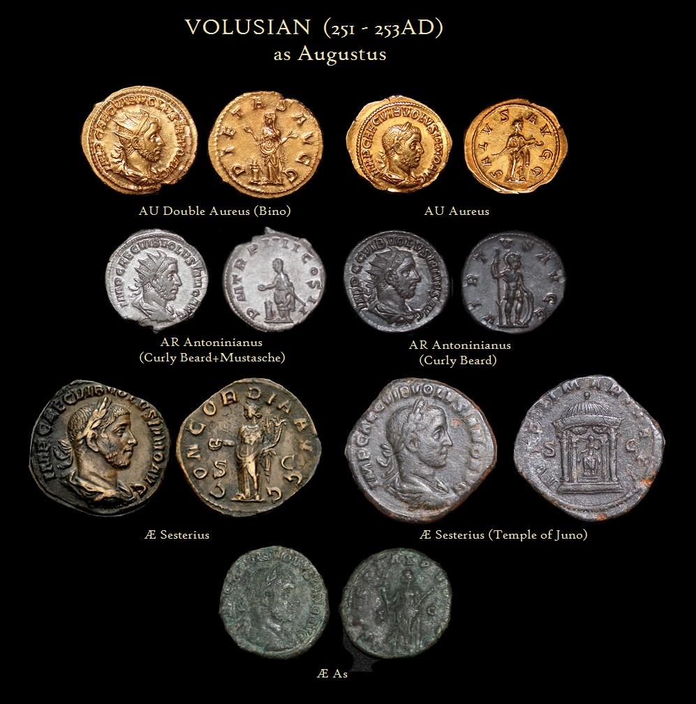 VOLUSION Aures Bino Antoninianus Sesterius Temple Juno As