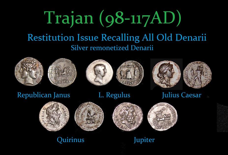 Trajan Restitution Silver Denarius - r