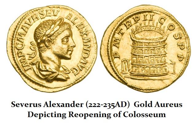 Severus Alexander Gold Aureus Colosseum
