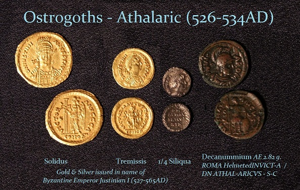 Athalarich Solidus Tremissis Quarter Siliqua Decanummium - R