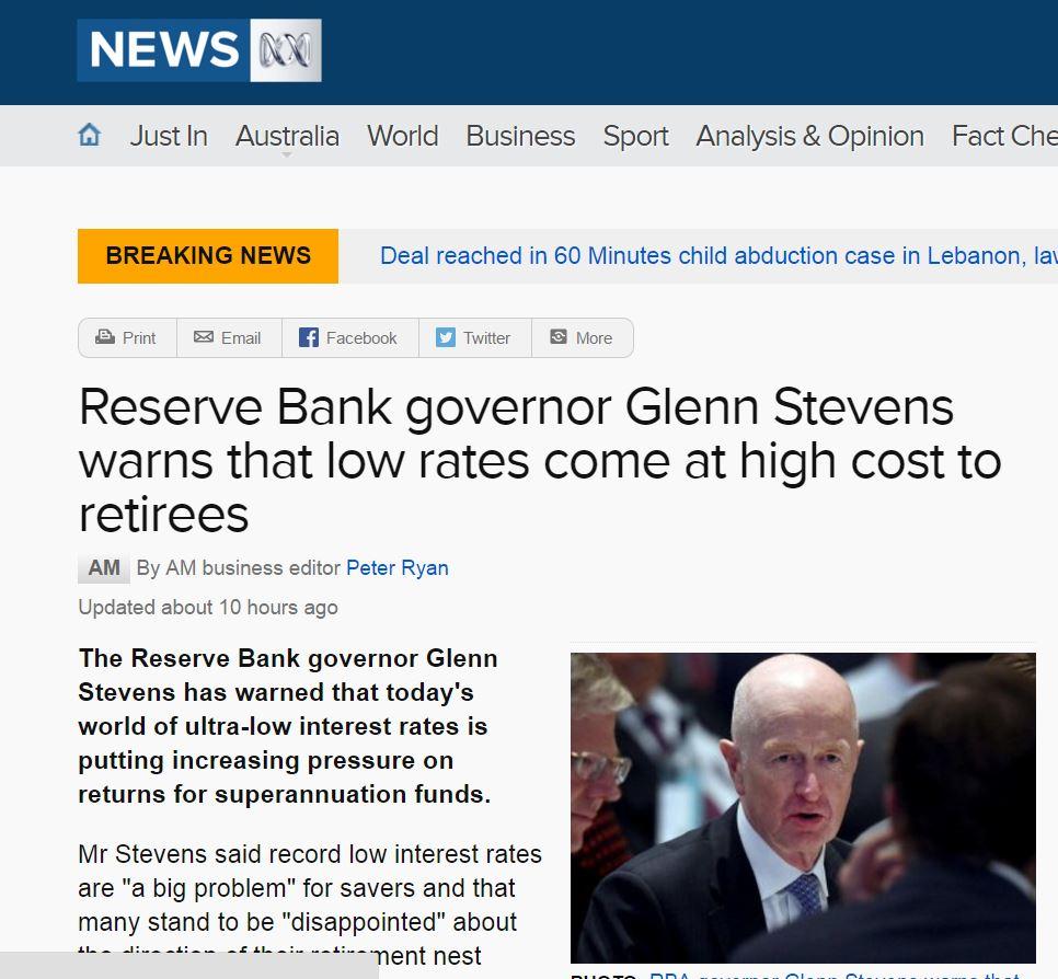 Reserve Bank Australia Glenn Stevens
