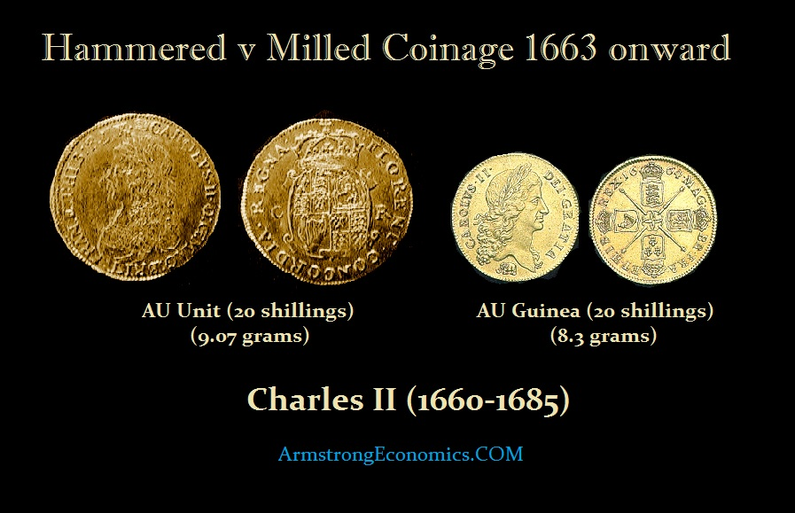 Hammered-Milled 1663 Charles II of England