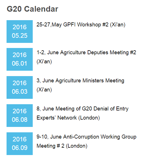 g20 Working Group Agenda