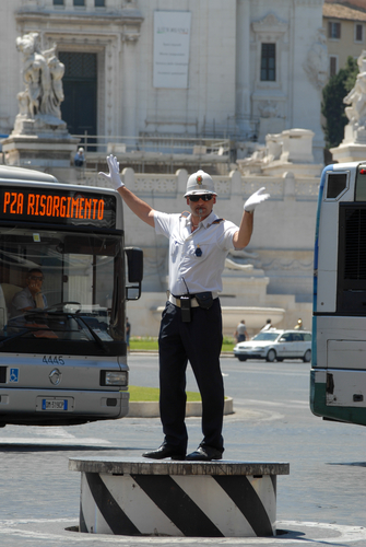 Rome Police Directing Traffic