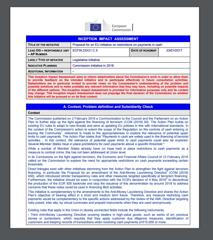 EU Restri8ctions on Cash