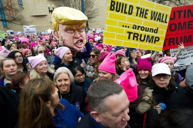 Women Trump Protest Wall