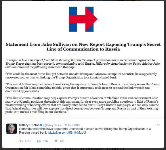 Hillary Tweet 10-31-2016 on Server-2