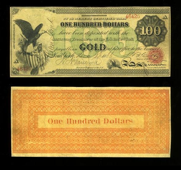 1863$100GoldCertificate
