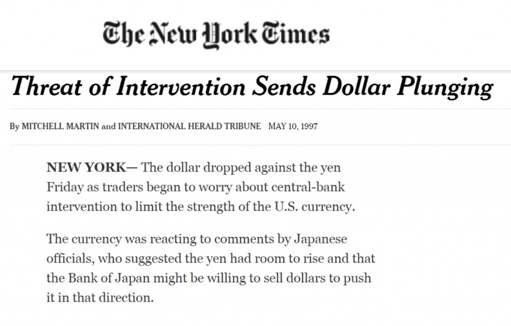NYT May 1997 Currency Intervention