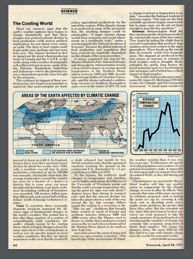 Newsweek April 28 1975 Cooling World - Climate Change Has been a Routine Scare Tactic Since the 1930s